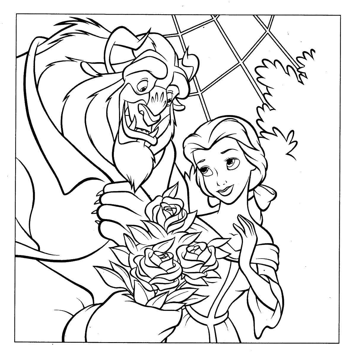 Coloring sheet beauty and the beast Download Nature, forest, mountains, palm,.  Print