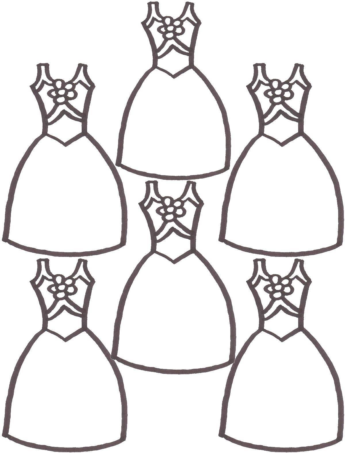 Раскраски красивые, Раскраска Чудесные красивые платья Платья.
