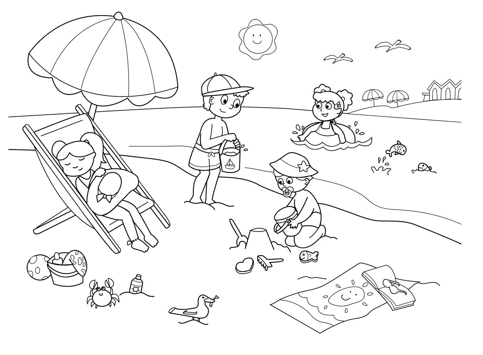 Coloring Children relax on the beach and playing in the water Download Beach, children, games, sand castle.  Print ,Summer fun,