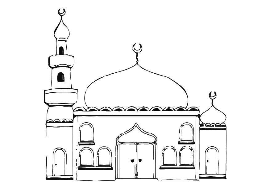 Раскраска Коран Скачать ,мечеть, коран,.  Распечатать