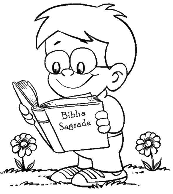 Coloring Boy reading a Bible Download the Bible, Jesus, children, prayer.  Print ,the Bible,