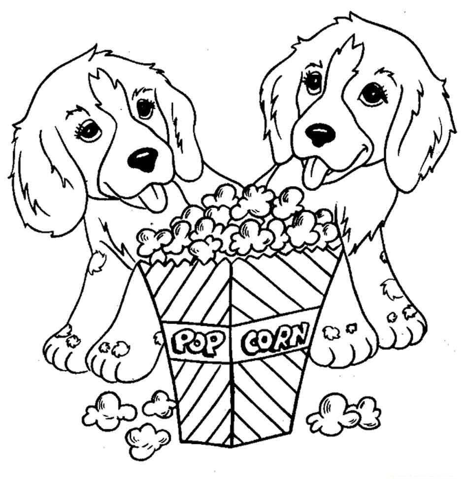Coloring Two dogs with popcorn Download dog, pop-corn.  Print ,Pets allowed,