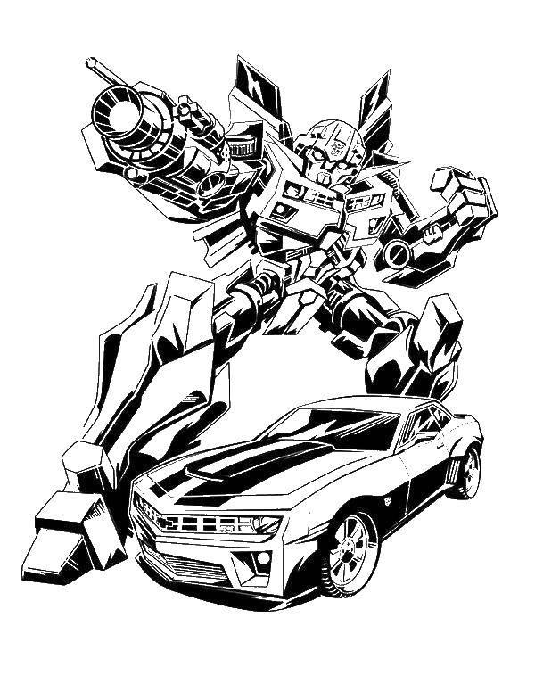 Раскраска Мультфильм трансформеры, машина, робот Скачать ,машина, робот,.  Распечатать