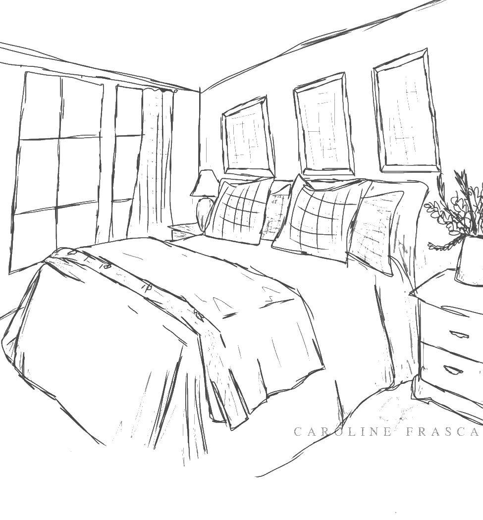 Coloring Pageone Double Bed Bedroom