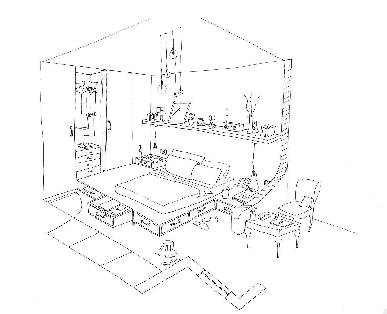 Раскраска Спальная комната Скачать ,Мебель,.  Распечатать