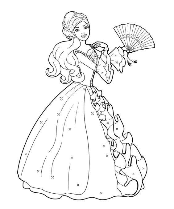 Раскраска Барби принцесса Скачать ,Барби, принцесса, принц,.  Распечатать