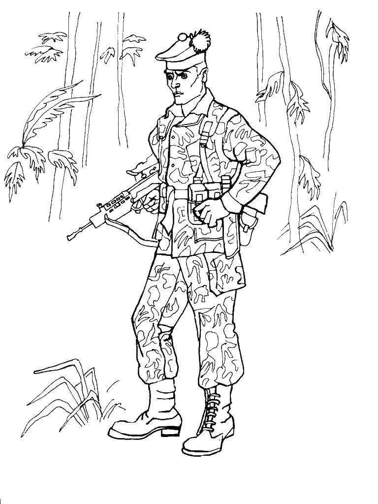 Coloring The spetsnaz soldier with a gun Download soldier, special Forces, military, machine,.  Print