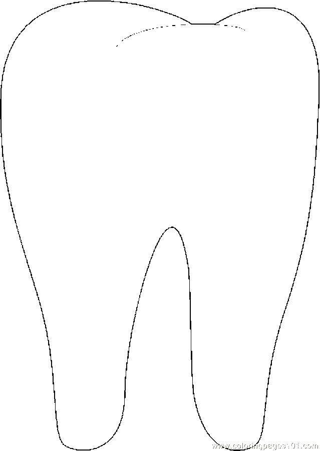 Картинка зуб для детей раскраска