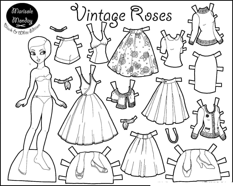 Раскраски кукла, Раскраска Одежда для куклы одежда и кукла.