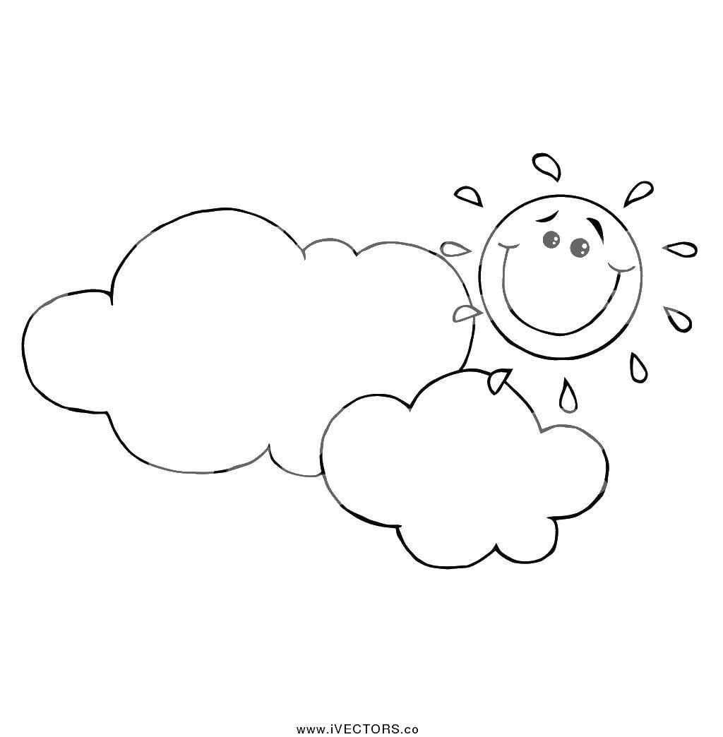 Раскраски солнце, Раскраска Облака и солнце облака.