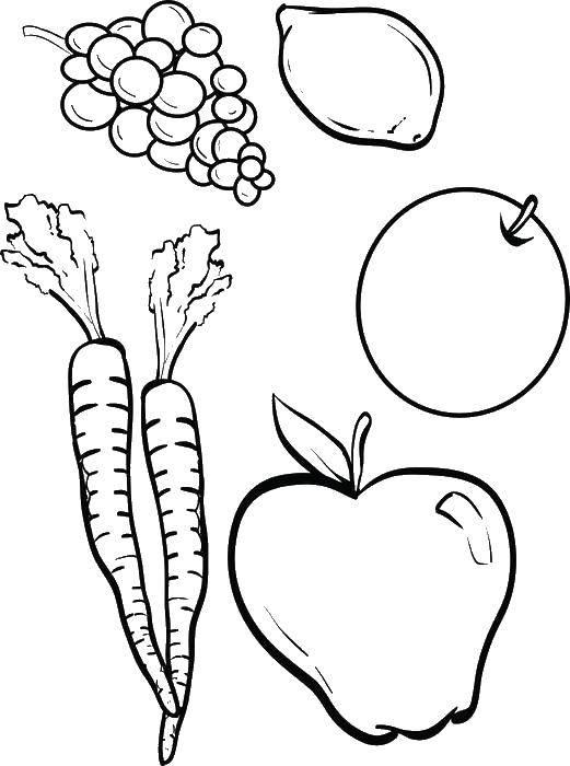 Картинки раскраска овощей фруктов ягод