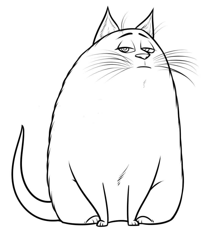 Coloring Big fat cat Download the cat.  Print ,Pets allowed,