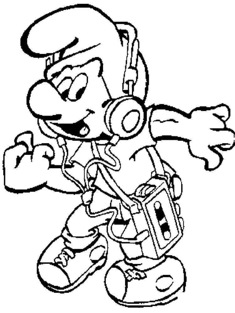 Coloring A smurf is listening to music Download Cartoon character, Smurfs, fun.  Print ,Smurfs,