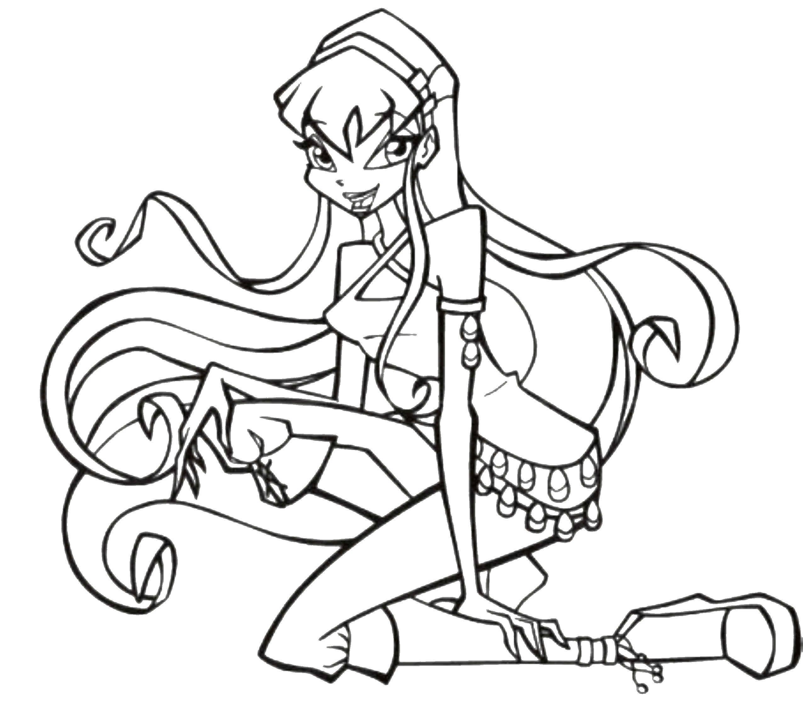 Раскраски клуб, Раскраска Девушка с длинными волосами ...
