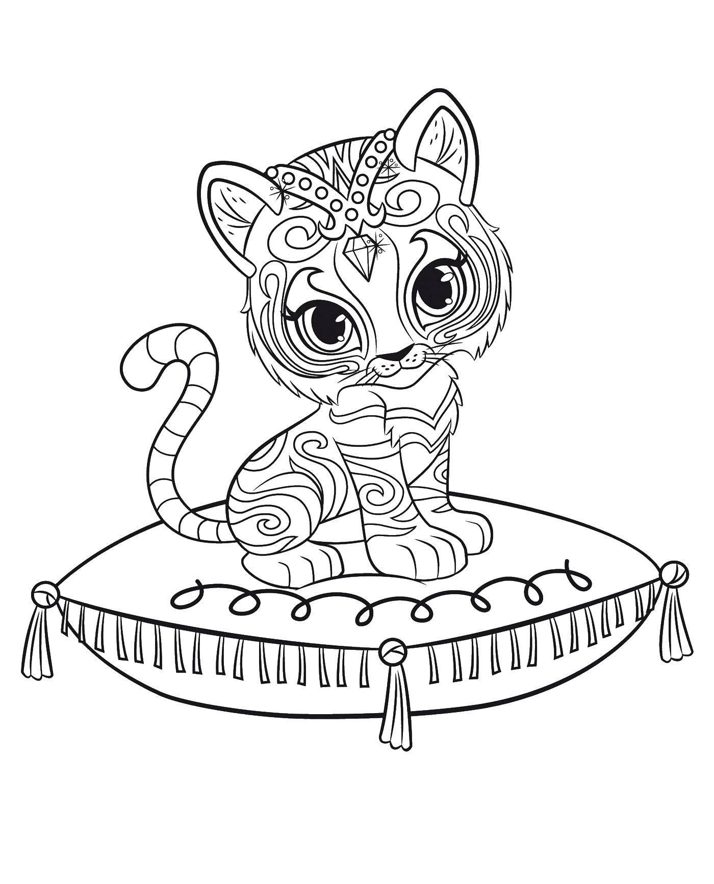Раскраска Узорный тигренок Скачать ,Узоры, животные,.  Распечатать