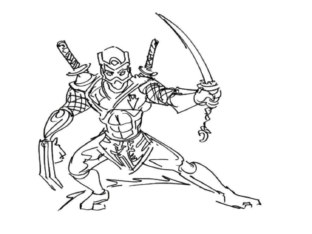 Coloring The ninja with the dagger Download ninja , sword, warrior,.  Print