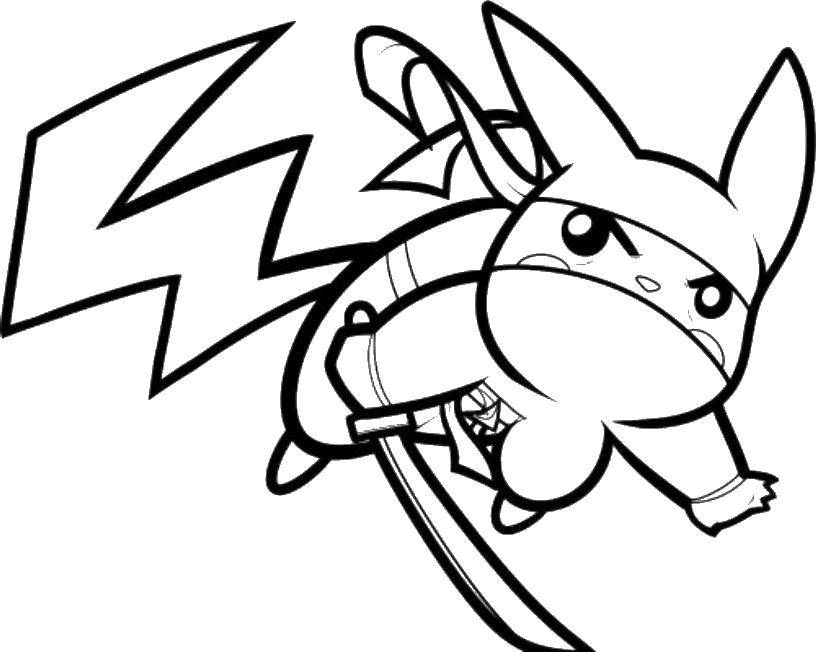 Coloring Pikachu ninja Download Ninja , warrior,.  Print