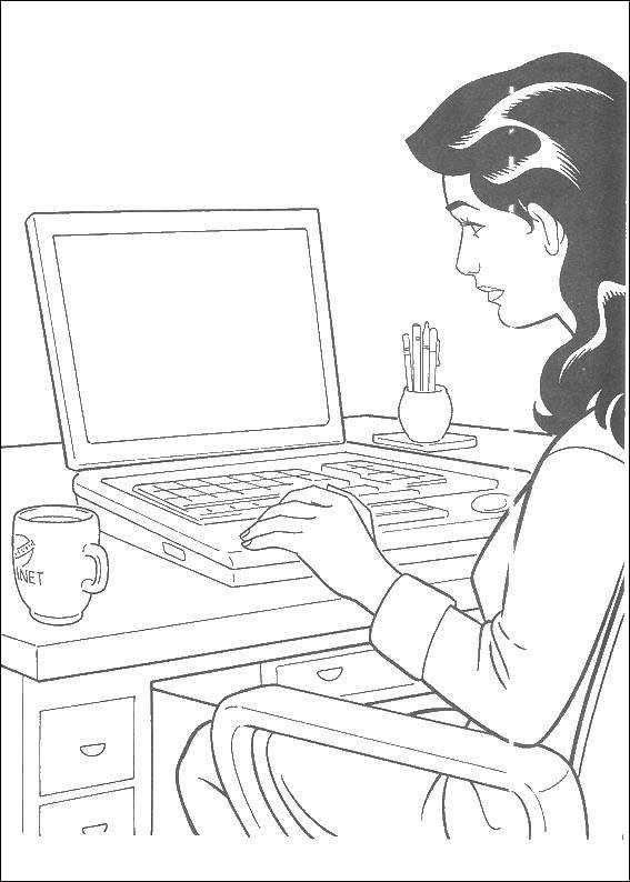Раскраска женщина Скачать ,женщина, девушка, ноутбук,.  Распечатать