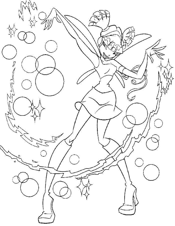 Раскраски крыльями, Раскраска Блум с крыльями Винкс.