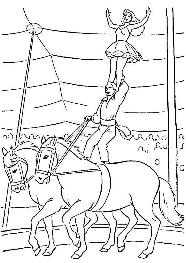 Coloring pages circus Скачать .  Распечатать
