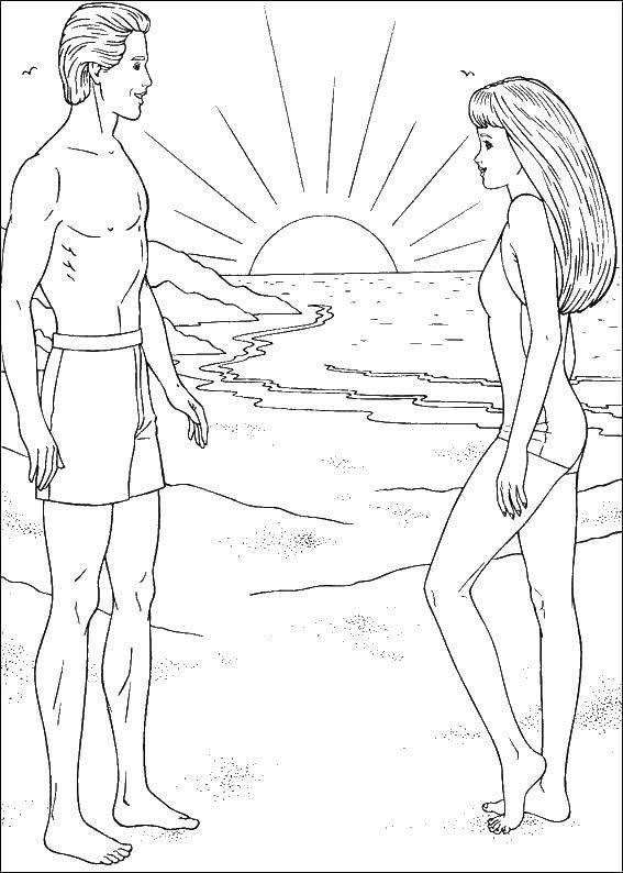 Coloring Barbie and Ken on the beach Download Barbie , Ken, beach,.  Print