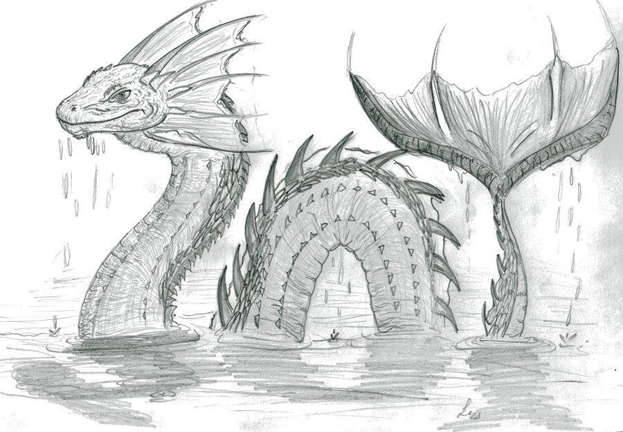 Раскраска Морской монстр Скачать ,море, вода, чудовище,.  Распечатать