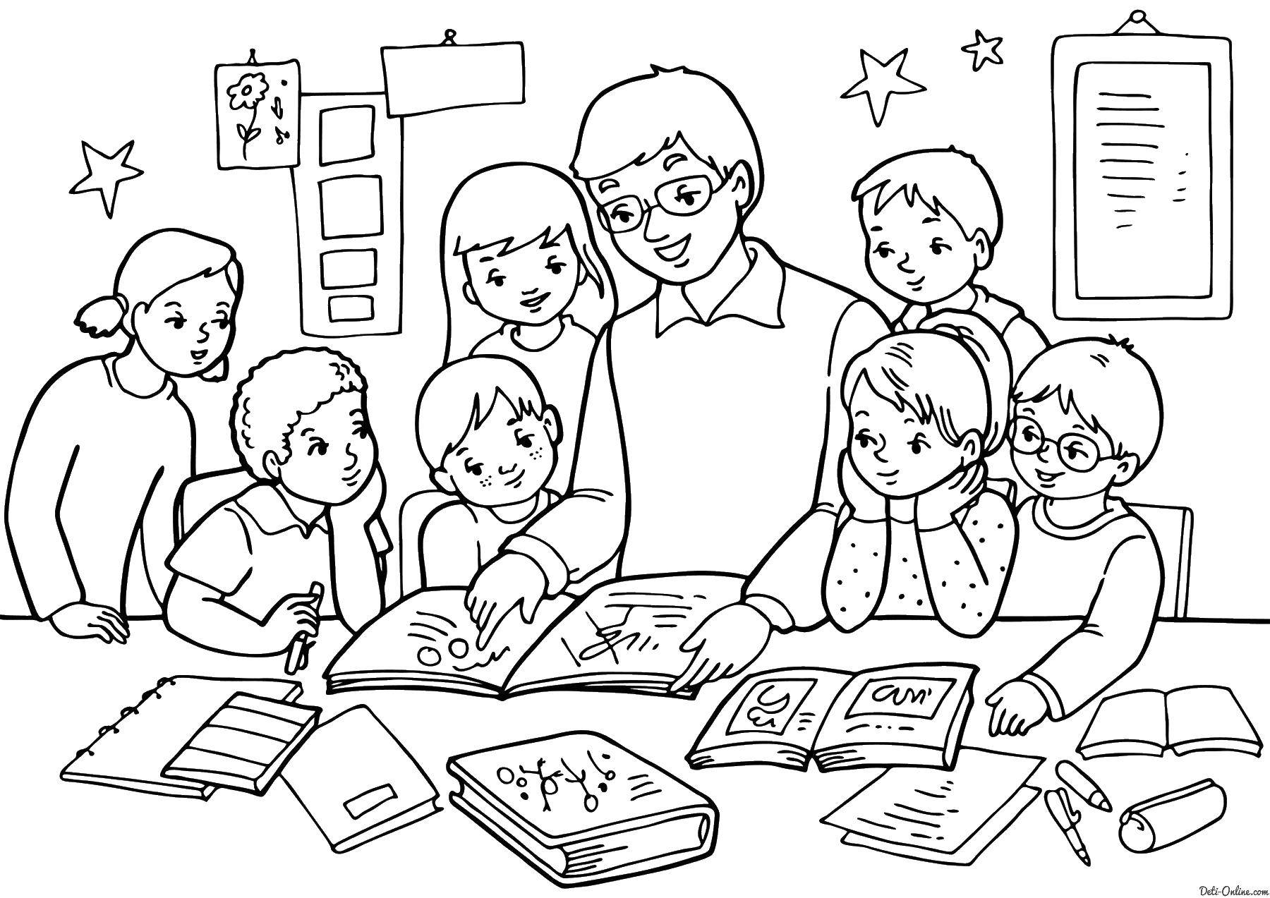 Coloring sheet teacher Download pig, wolf.  Print ,baby,