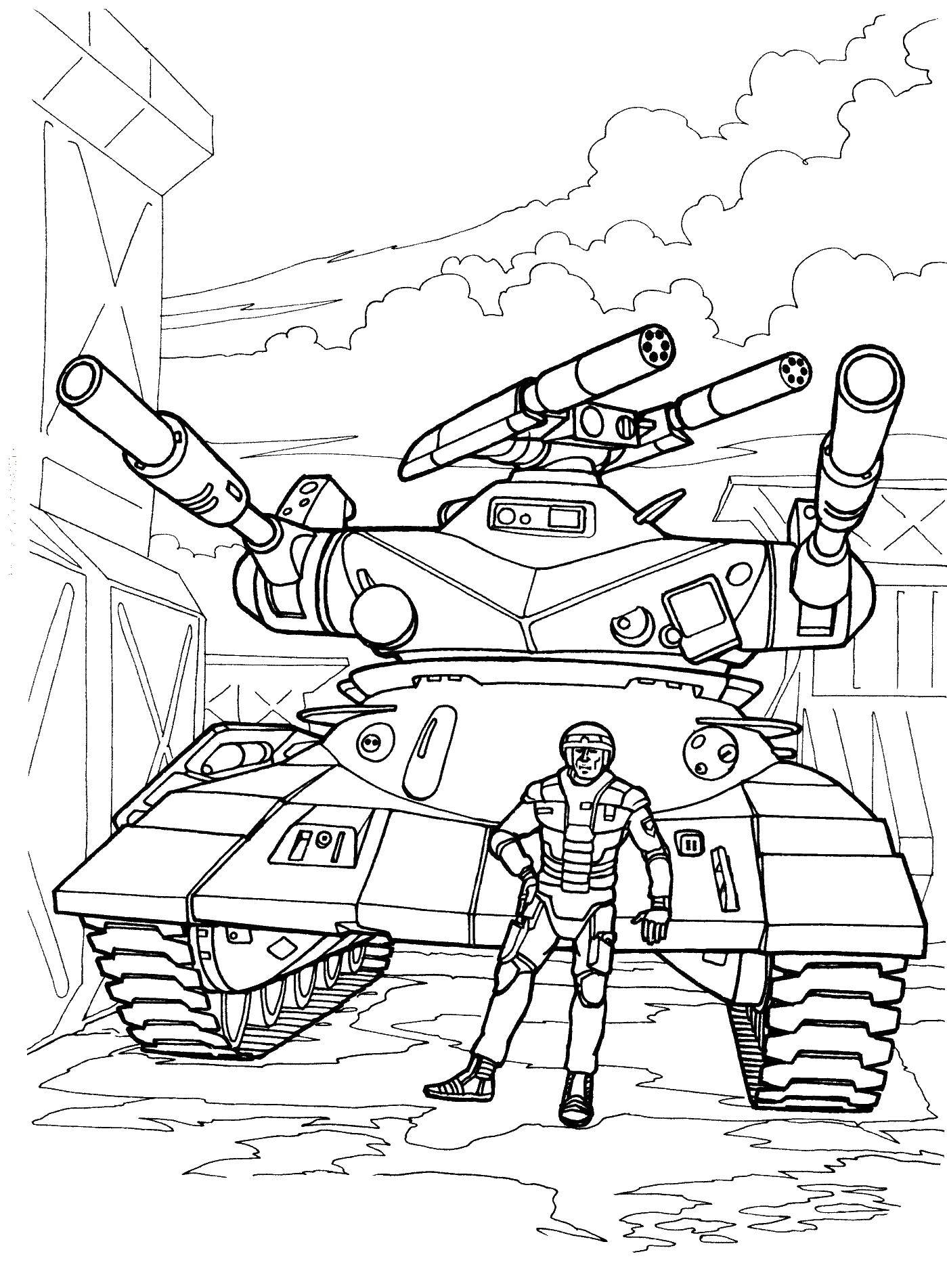 Coloring The soldier in the tank Download soldier, tank, military,.  Print