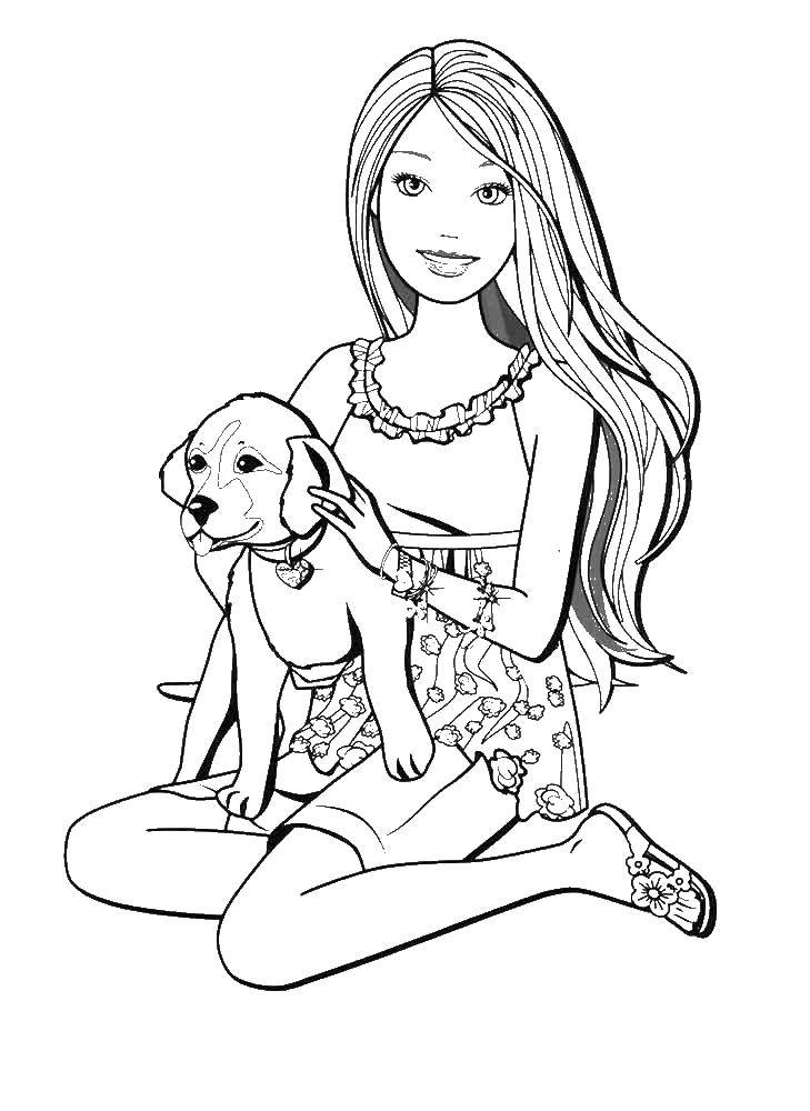 Coloring Barbie with dog. Category Barbie . Tags:  Barbie .