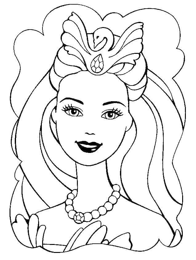 Coloring Portrait of a Swan Princess Barbie Download ,Swan lake, Barbie, Princess,.  Print
