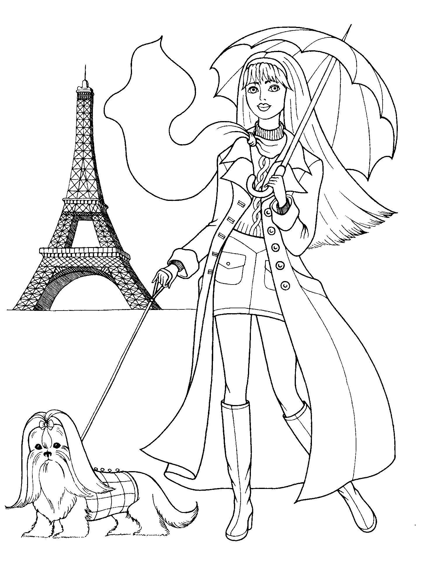Раскраска Барби в париже с болонкой Скачать ,Барби, собака, Париж,.  Распечатать