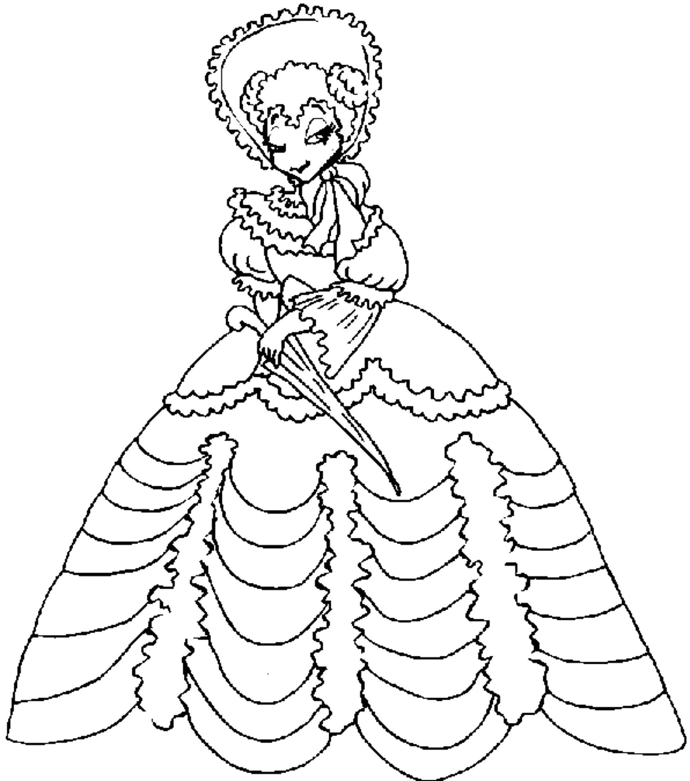 Coloring Ball gown. Download Princess dress.  Print