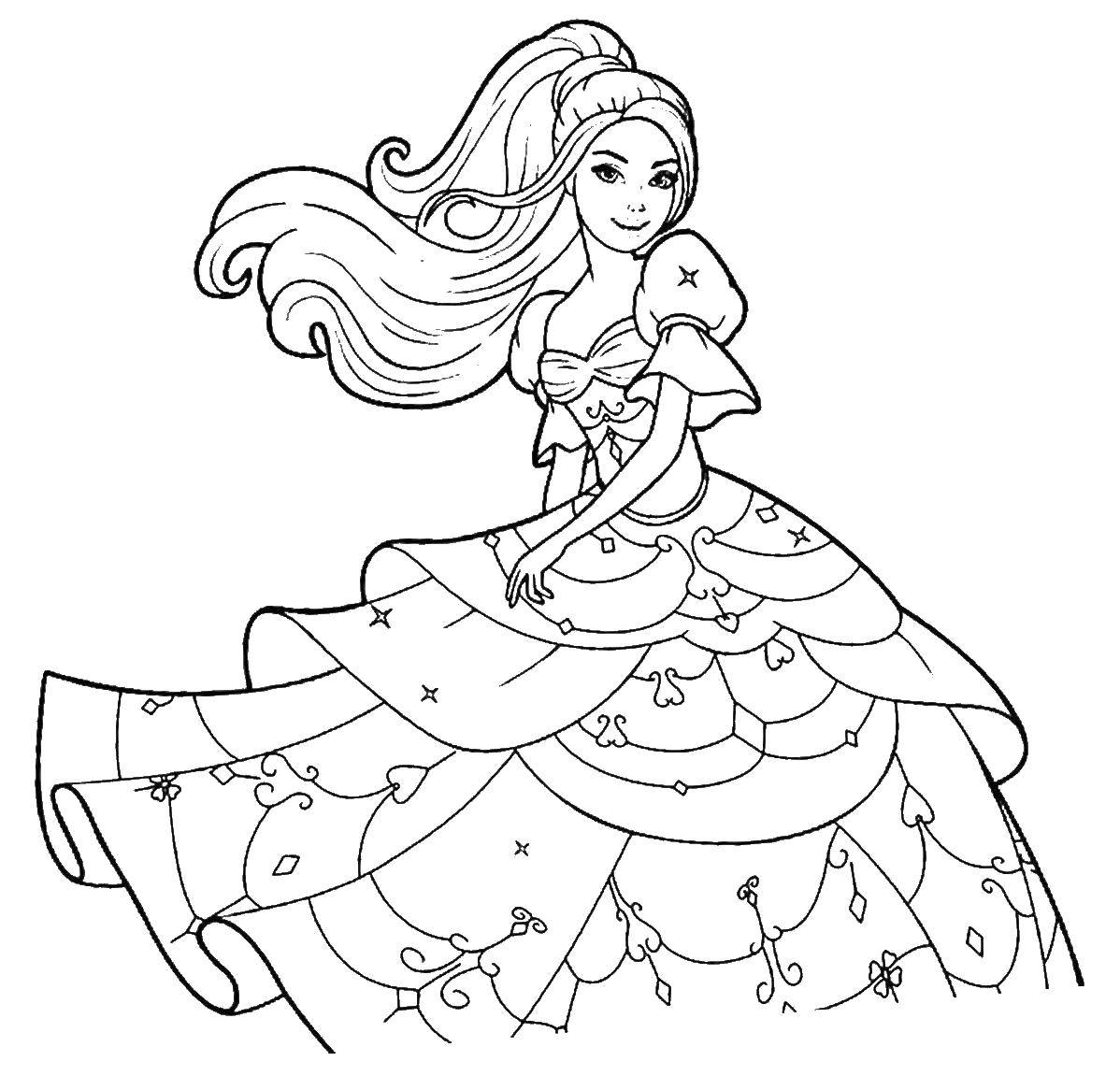 Coloring Graceful Princess. Category Barbie . Tags:  Barbie , Princess, Prince.