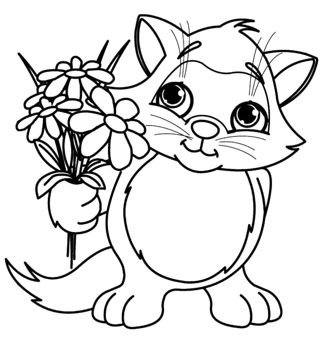 Картинки раскраски цветов и животных