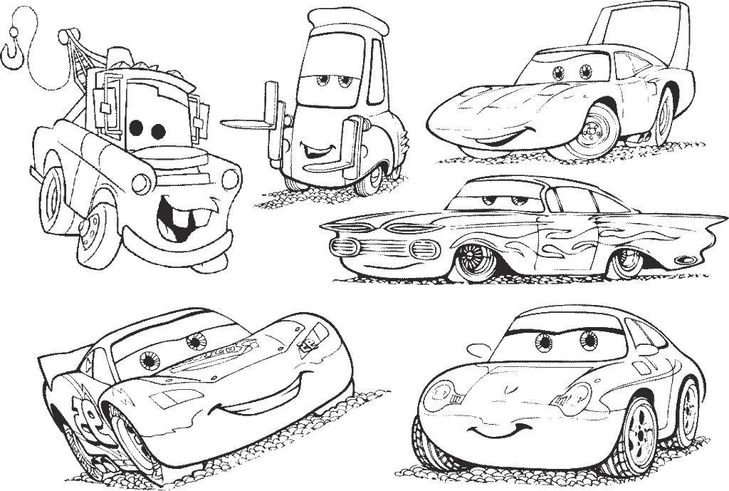 Coloring Different cars. Category Wheelbarrows. Tags:  cartoons Cars, cars.