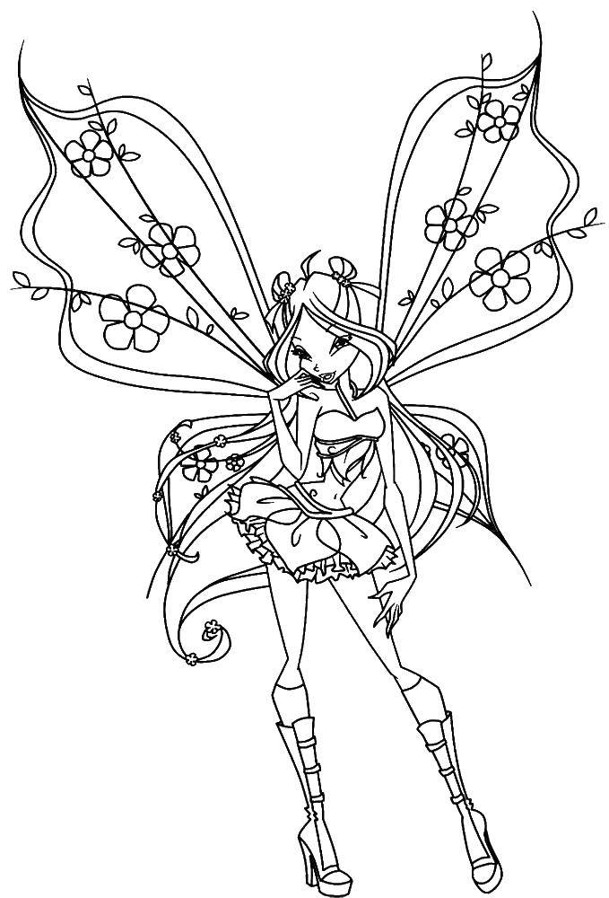 Coloring Beautiful wings bloom Download ,Character cartoon, Winx,.  Print
