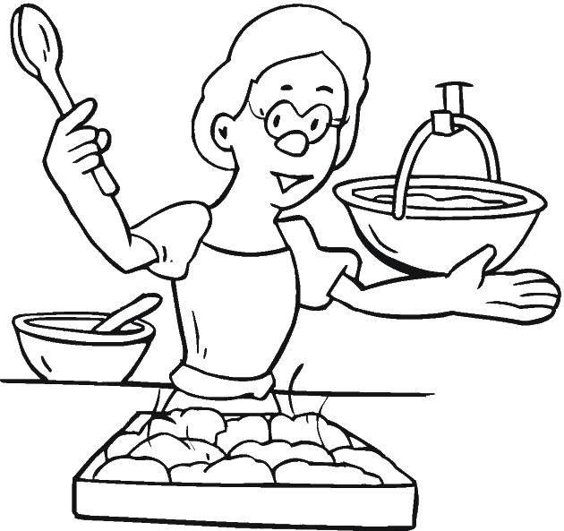 Рисунок мама готовит ужин