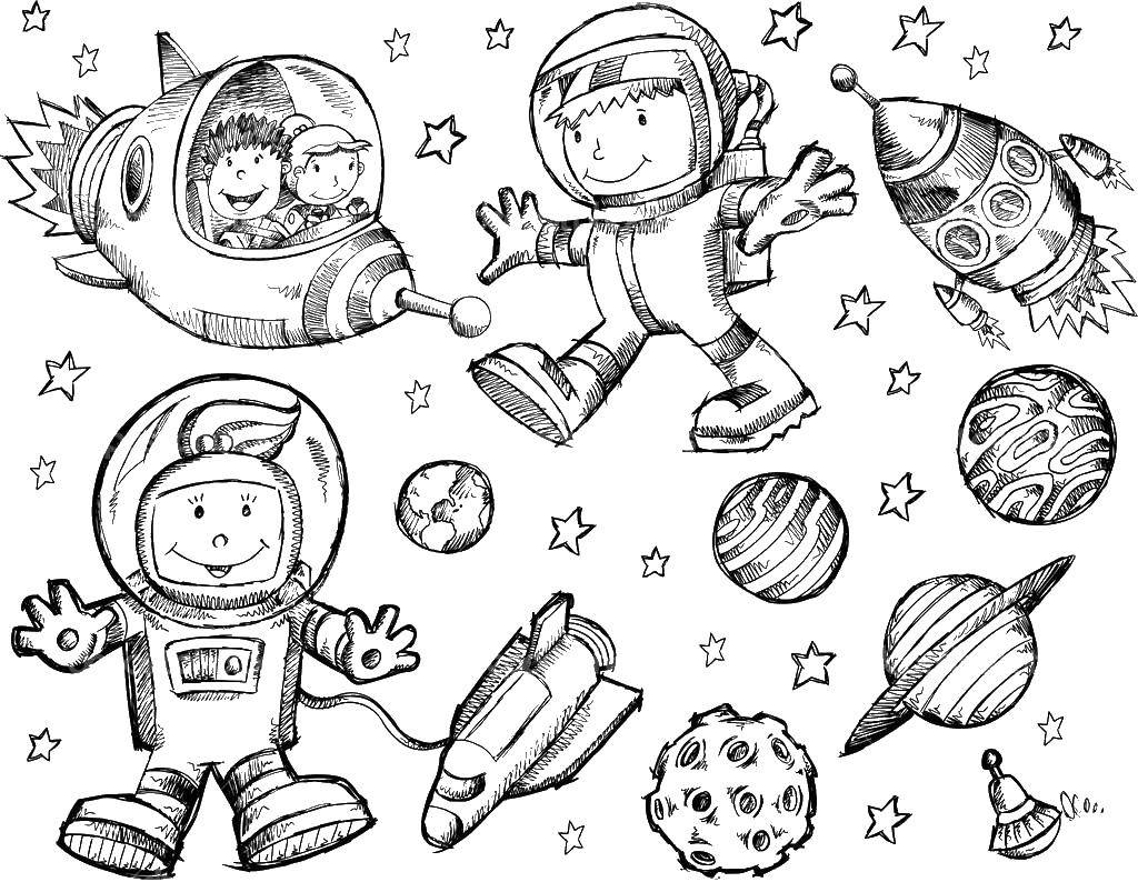 Coloring Astronauts, planets, rockets Download space, spacecraft, rockets, astronauts.  Print ,Space,