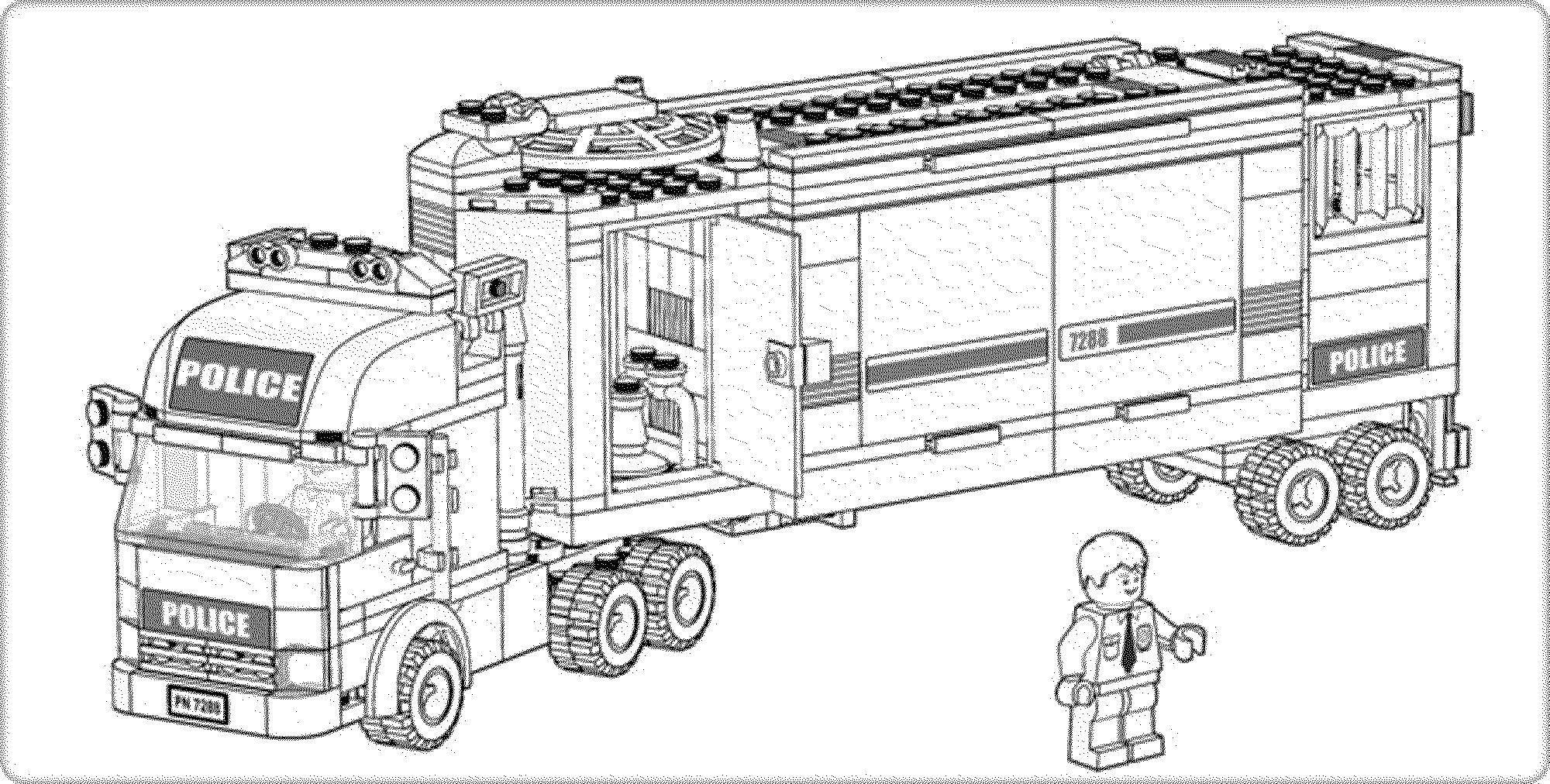 Раскраска Полицейский грузовик Скачать ,лего, рузовик, полиция,.  Распечатать