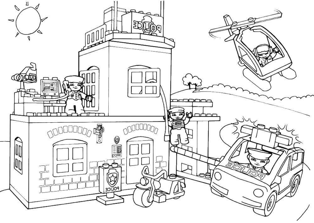 Раскраска Лего Скачать ,лего, полиция,.  Распечатать