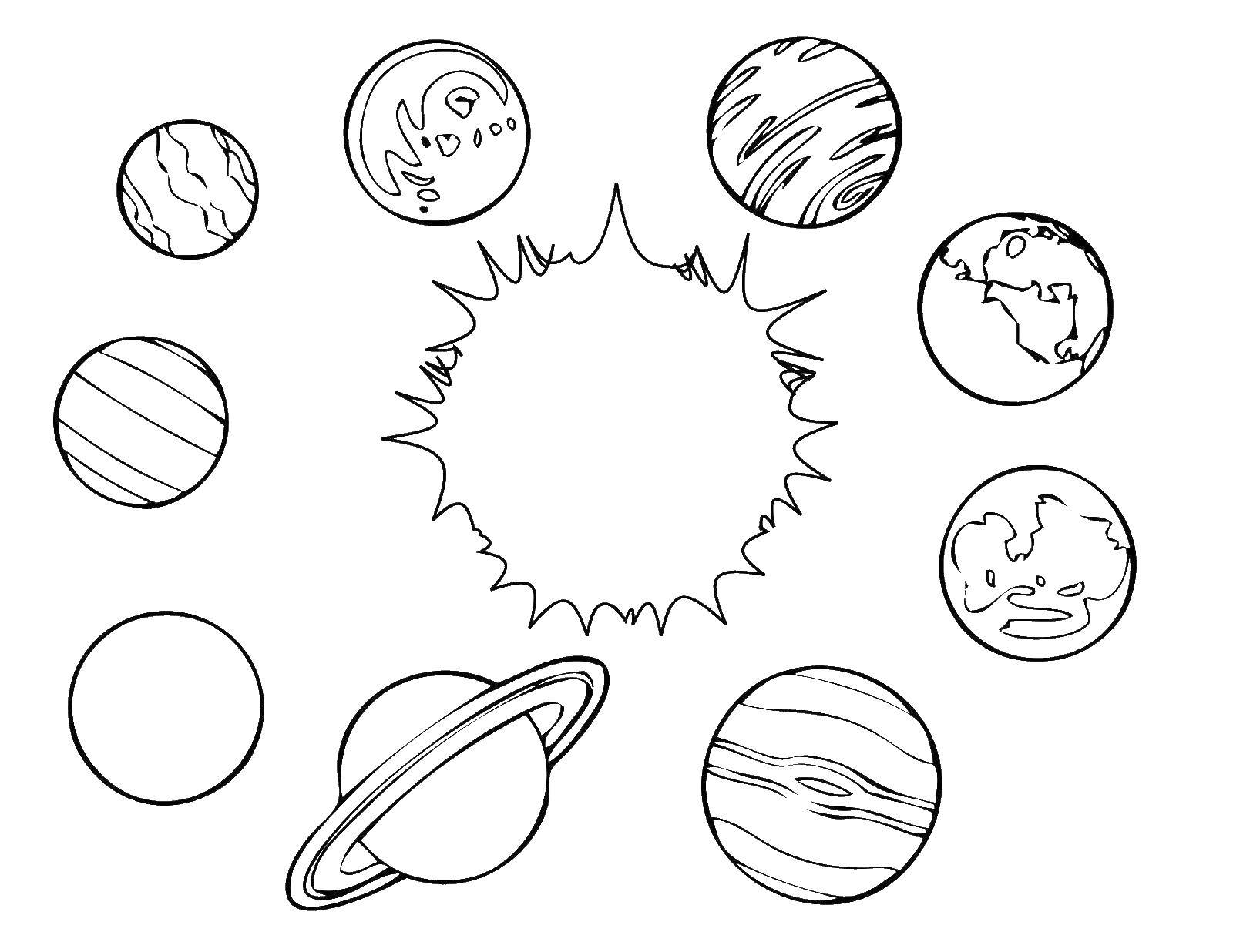 Coloring Solar system. Category Space. Tags:  space, sun, planets.