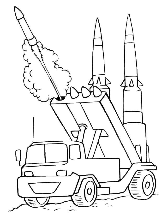 Coloring War machine rockets Download Machine, military, missile, truck.  Print ,machine ,