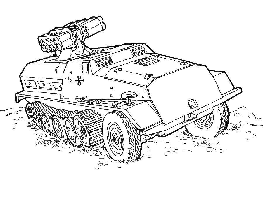 Coloring A tank with a rocket launcher Download Tank, missiles,.  Print