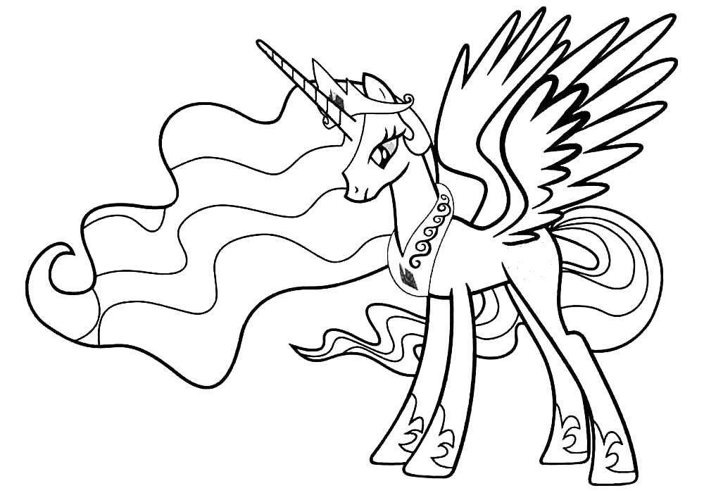 Раскраски единорог, Раскраска Единорог с крыльями Пони.