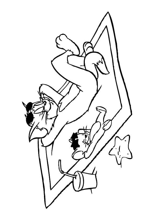 Coloring sheet Tom and Jerry Download Underwater world, turtle.  Print ,marine,