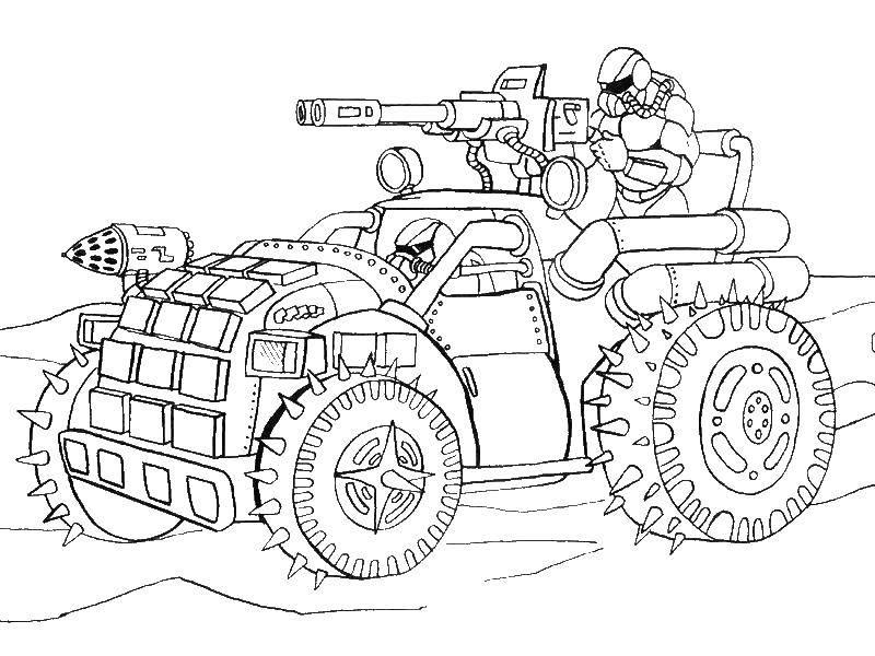 Раскраска военное Скачать ,Машина, военная,.  Распечатать