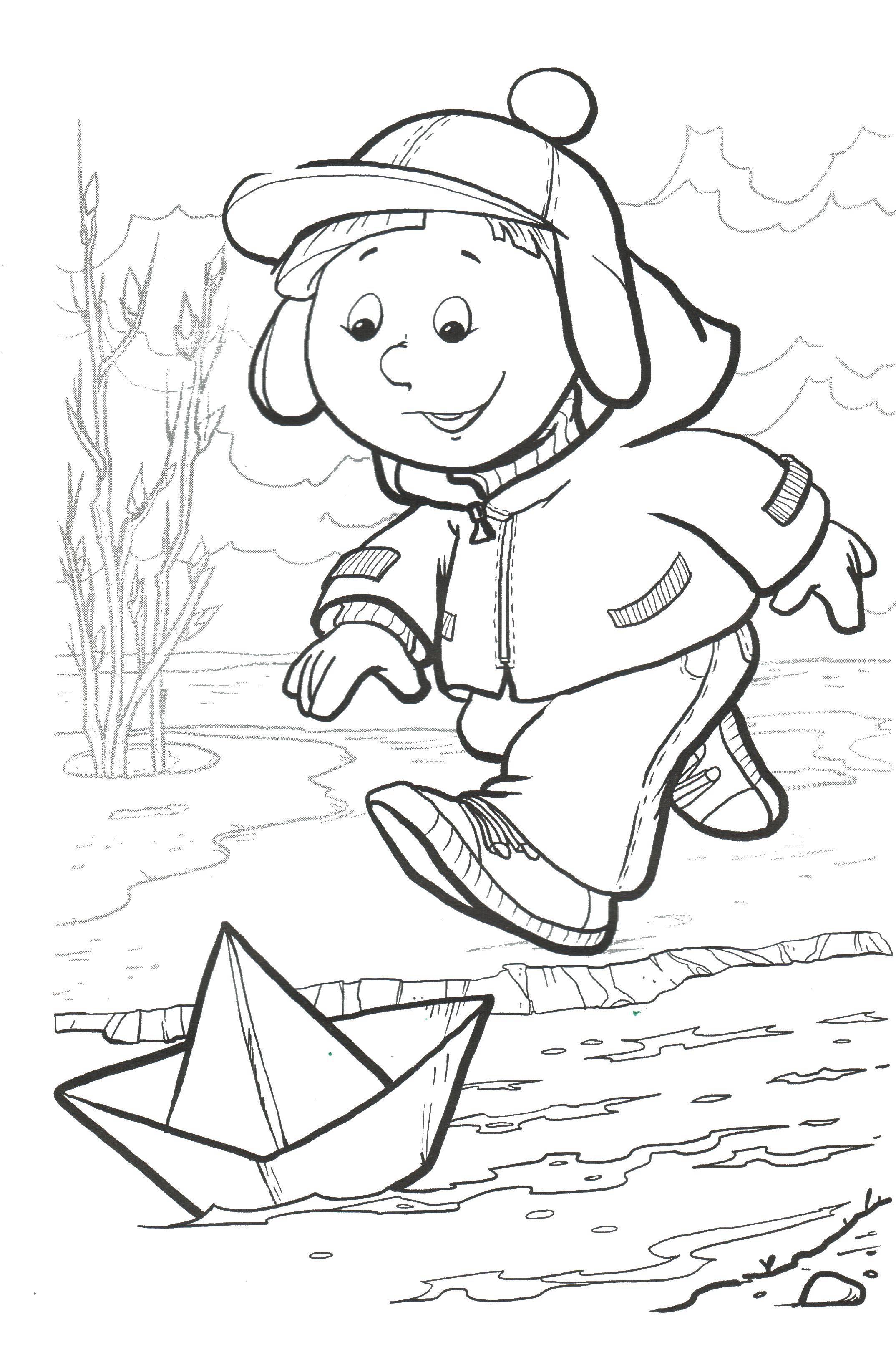 Раскраски марта, Раскраска Дети рисуют открытку восьмого ...
