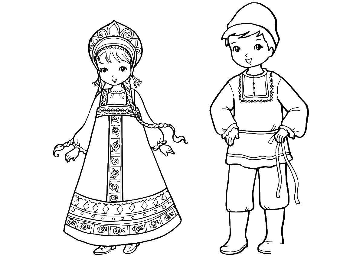 русские народные костюмы рисунок простой гарнитуры для