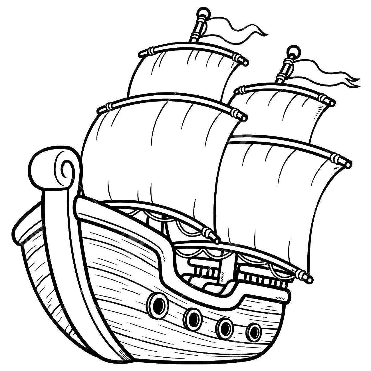 Раскраска корабли Скачать корабль,море.  Распечатать