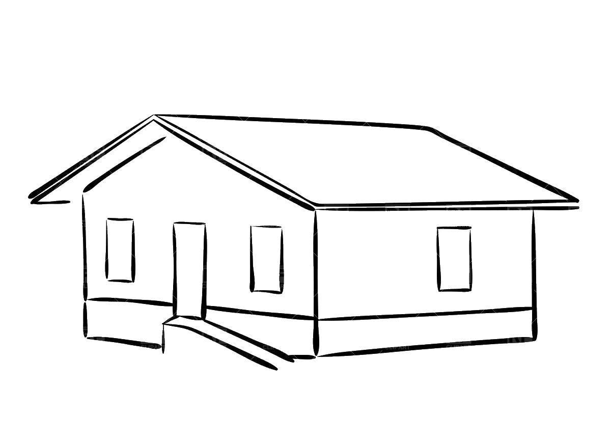 ранее одноэтажный дом рисунок карандашом ребенок совсем